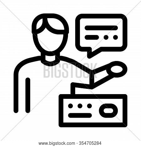 Human Speaking Icon Vector. Outline Human Speaking Sign. Isolated Contour Symbol Illustration