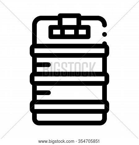 Metal Keg Barrel Icon Vector. Outline Metal Keg Barrel Sign. Isolated Contour Symbol Illustration