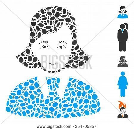 Dotted Mosaic Based On Clerk Lady. Mosaic Vector Clerk Lady Is Designed With Randomized Oval Spots.