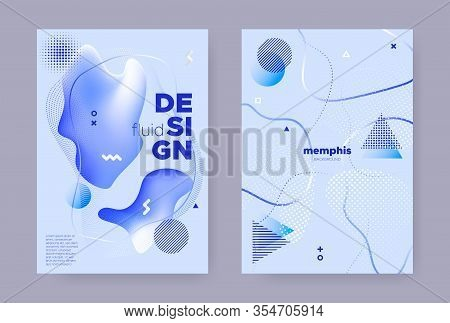 Pastel Abstract Memphis Gradient. Vibrant Flow Design. Wave Cover. Graphic Geometric Template. Hipst