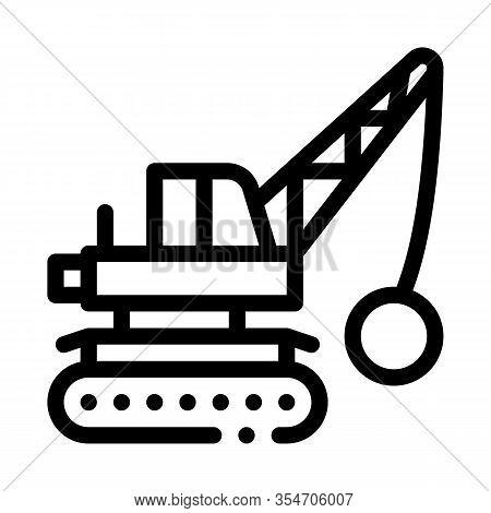 Demolish Machine Icon Vector. Outline Demolish Machine Sign. Isolated Contour Symbol Illustration
