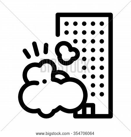 Destroying House Icon Vector. Outline Destroying House Sign. Isolated Contour Symbol Illustration