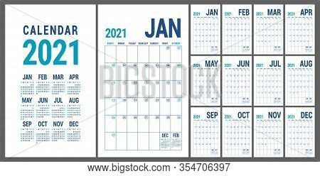 Calendar 2021. English Calender Template. Vector Grid. Office Business Planning. Creative Design. Bl