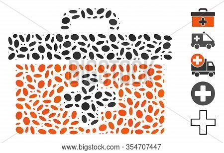 Dotted Mosaic Based On First Aid Toolbox. Mosaic Vector First Aid Toolbox Is Created With Scattered