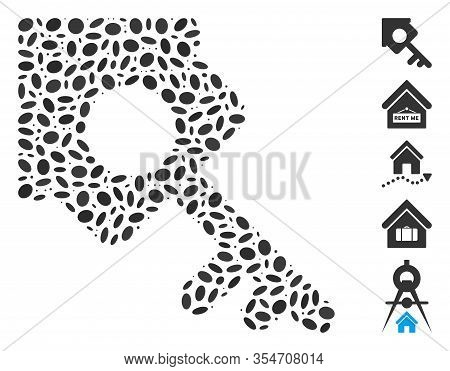 Dotted Mosaic Based On Realty Access. Mosaic Vector Realty Access Is Designed With Random Elliptic E