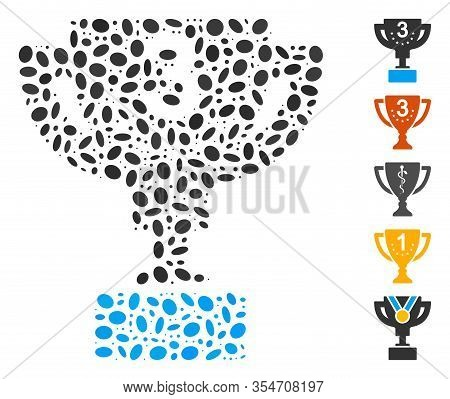 Dot Mosaic Based On Third Prize Cup. Mosaic Vector Third Prize Cup Is Formed With Randomized Ellipti