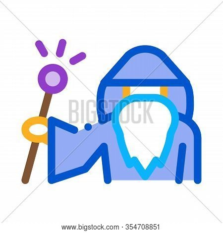 Wizard Hold Wand Icon Vector. Outline Wizard Hold Wand Sign. Color Isolated Contour Symbol Illustrat