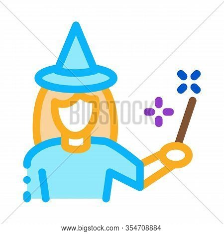 Wizard Woman Icon Vector. Outline Wizard Woman Sign. Color Isolated Contour Symbol Illustration