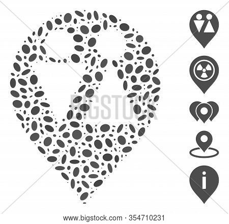 Dotted Mosaic Based On Wc Map Marker. Mosaic Vector Wc Map Marker Is Designed With Scattered Ellipse