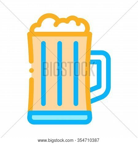 Foamy Beer Cup Icon Vector. Outline Foamy Beer Cup Sign. Color Isolated Contour Symbol Illustration