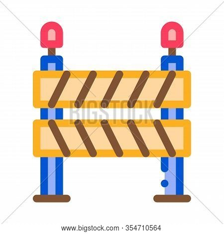 Road Barrier Icon Vector. Outline Road Barrier Sign. Color Isolated Contour Symbol Illustration