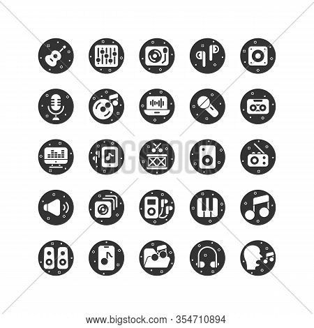 Music And Sound Solid Icon Set. Vector And Illustration.