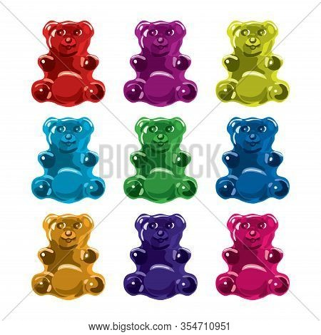 Vector Gummy Bear Candies Isolated On White Background. Collection Of Colorful Candy Bears