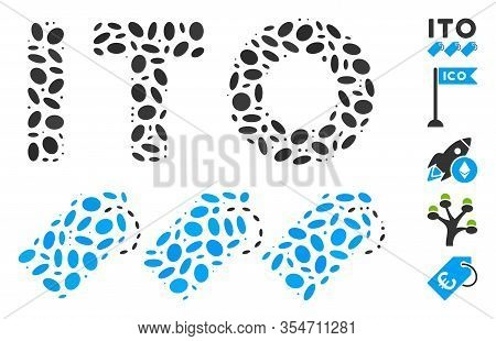 Dotted Mosaic Based On Ito Tokens. Mosaic Vector Ito Tokens Is Designed With Scattered Oval Elements