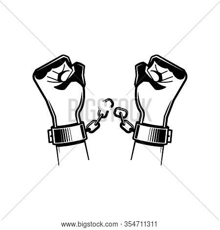 Black And White Hand Chain Composition With Hands Of The Prisoner Breaking The Chain Vector Illustra
