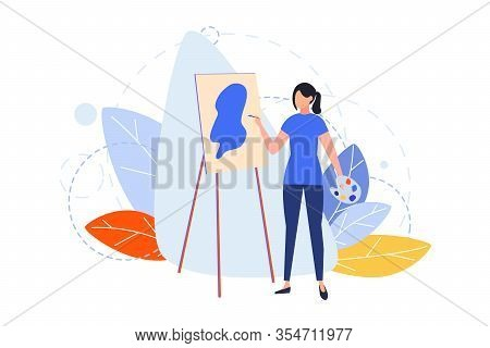 Drawing, Hobby, Creativity, Occupation, Design Concept. Illustration Of Woman Girl Painter Drawing P