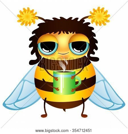 Funny Cartoon Honey Bee With Coffee Cup On White Background. Vector Illustration