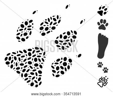 Dotted Mosaic Based On Wolf Footprint. Mosaic Vector Wolf Footprint Is Designed With Random Ellipse