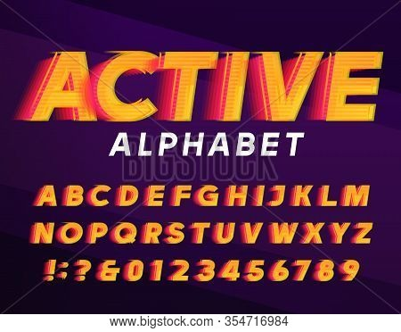 Active Alphabet Font. Fast Speed Effect Dynamic Letters And Numbers. Stock Vector Typescript For You