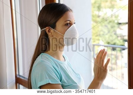 Covid-19 Woman Home Isolation Auto Quarantine Wearing Face Mask Protective For Spreading Of Disease