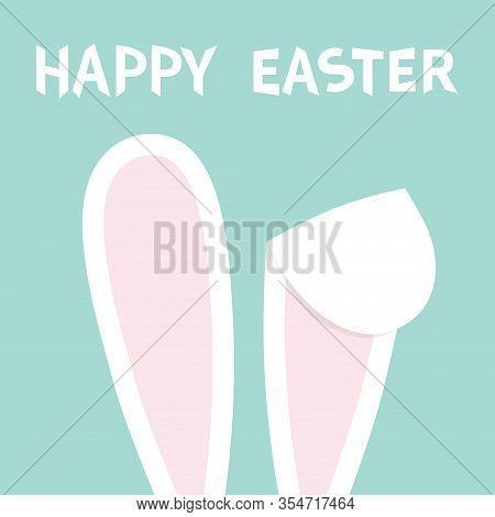 Happy Easter. Rabbit Bunny Ears. Hidden Head Face. Cute Cartoon Kawaii Funny Baby Character. Farm An