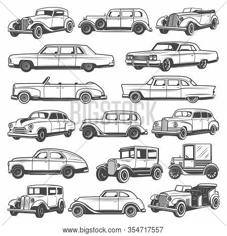 Retro Vintage Cars. Isolated Vector Icons Set, Monochrome Old Vehicles. Classic Antique Models, Conv