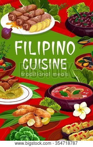 Filipino Cuisine Food Vector Poster, Restaurant Dishes. Pochero Soup, Fried Bananas In Batter, Musse