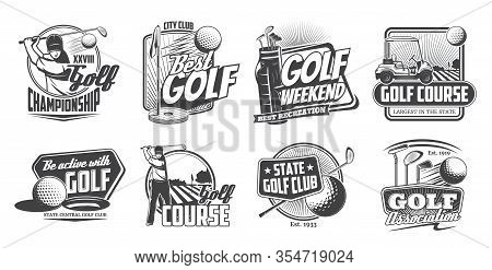 Golf Sport And Players Isolated Vector Icons Set. Golf Club Association, Courses And Championship Mo
