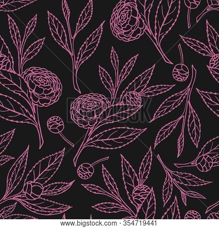 Seamless Pattern With Camellia Sprigs On A Black Background In Vector