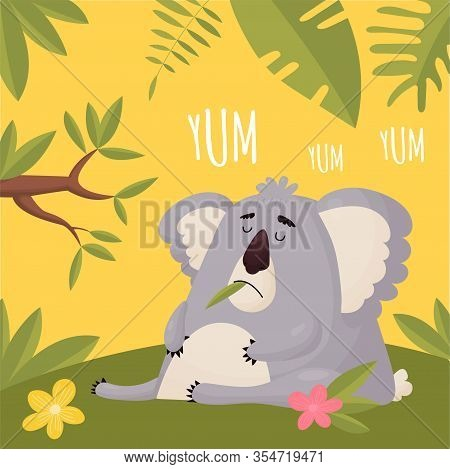 Full Animal Ate Her Fill And Fell Asleep. Vector Funny Fat Koala Sleeping After Lunch