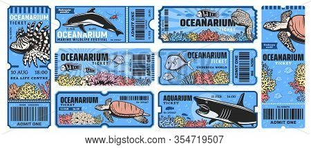 Oceanarium Park Tickets, Aquarium Zoo With Sea Underwater Animals As A Shark, Angelfish, Lionfish, D