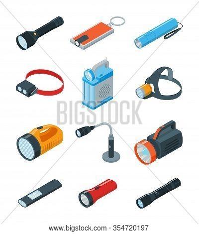 Flashlight Vector Illustration On White Background . Isometric Set Icon Spotlight. Vector Cartoon Se