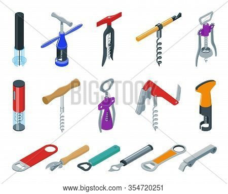 Corkscrew Vector Cartoon Set Icon.isometric Set Icon Opener For Bottle. Vector Llustration Corkscrew
