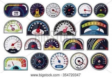 Speedometer Vector Cartoon Set Icon. Vector Illustration Speed Of Car On White Background . Cartoon