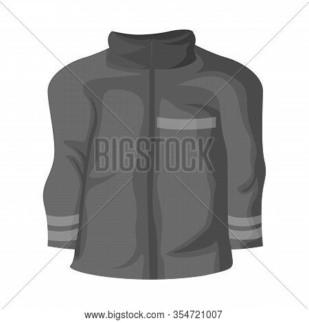 Vector Design Of Jacket And Fireman Sign. Set Of Jacket And Clothing Stock Vector Illustration.