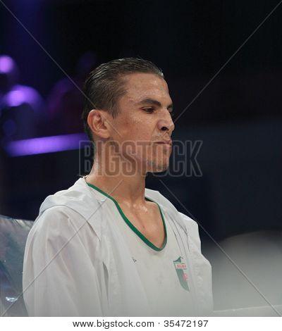 ODESSA, UKRAINE - JULY 21: Mohamed Belkacem before the fight with Vyacheslav Uzelkov for WBO Inter-Continental light heavyweight title in Odessa, Ukraine at July 21, 2012