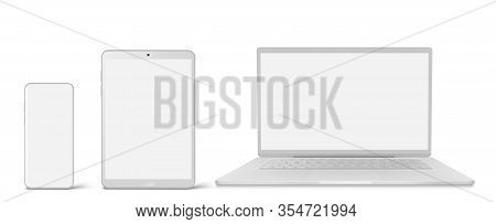 White Laptop, Tablet And Phone With Blank Screen In Front View. Vector Realistic Mockup Of Modern Di