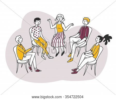 Patients Discussing Their Psychological Or Addiction Problem. Group Of People Sitting In Circle And