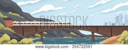Modern Speedy Train On Railway At Old Brick Bridge Over Sea Vector Graphic Illustration. Fast Electr