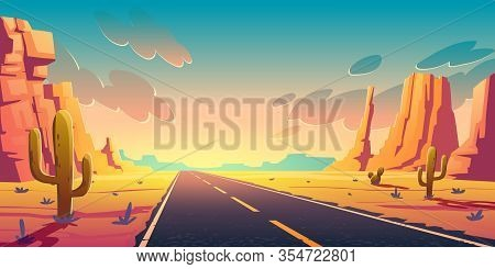 Sunset In Desert With Road, Cactuses And Rocks. Vector Cartoon Landscape Of Highway In Arizona Or Me