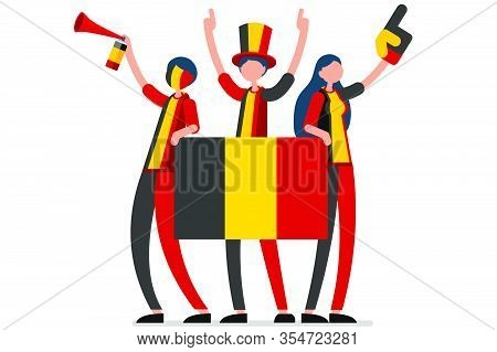 Crowd Of Persons Celebrate National Day Of Belgium With A Flag. Belgian People Celebrating A Footbal