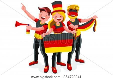 Crowd Of Persons Celebrate National Day Of Germany With A Flag. German People Celebrating A Football