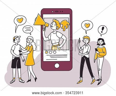 Blogger Advising Product Online To Audience Vector Illustration. Person Promoting Services In Social