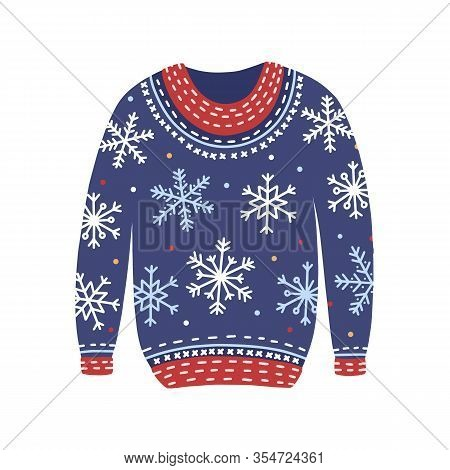 Blue Christmas Cosiness Ugly Sweater With Snowflakes Vector Flat Illustration. Woolen Cozy Winter Cl