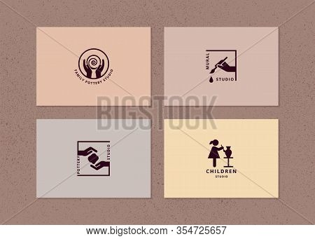 Vector Layout Of Business Card With Logo For Art Studio, Pottery Or Ceramic Studio.
