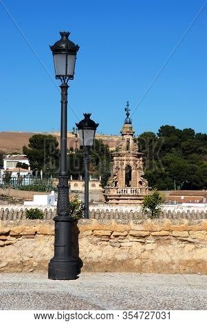 Ornate Lampposts With Mercy Tower To The Rear (torre De La Merced), Osuna, Seville Province, Andaluc