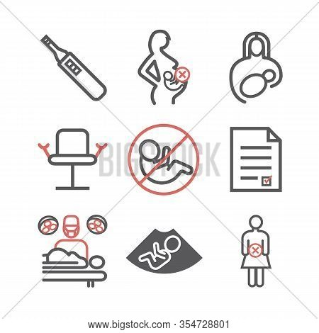 Abortion Line Icons Set. Vector Signs For Web Graphics.