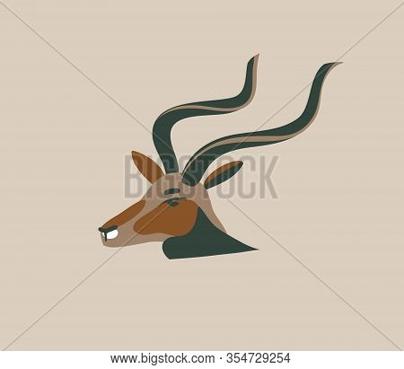 Hand Drawn Vector Stock Abstract Graphic Illustration With African Wild Antelope Head Cartoon Animal