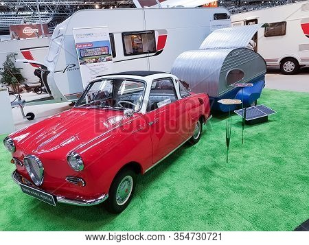 Duesseldorf, Nrw, Germany - August 29, 2018: Motorhomes And Campers For Sale Or Rent At An Exhibitio