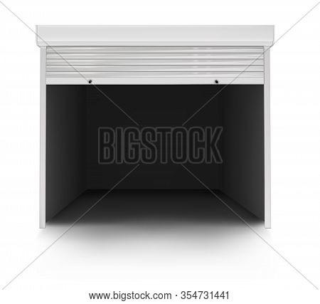 White Garage Door On A White Background. Vector Illustration